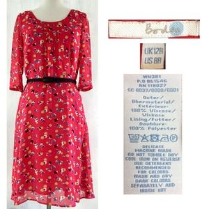 BODEN Abstract Floral Crepe 3/4 Sleeve Lined Dress
